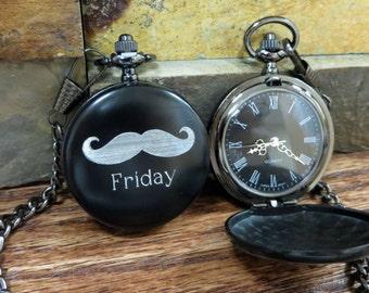 mustache watch personalized mustache pocket watch personalized groomsmen gifts best man friend gift
