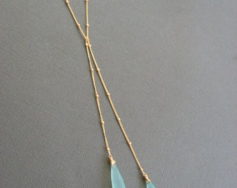 Aqua Chalcedony lariat Necklace, Layering necklace, gemstone necklace, Gold Satellite chain necklace, long gold necklace