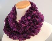 Deep Purple Ruffle Fashion Scarf