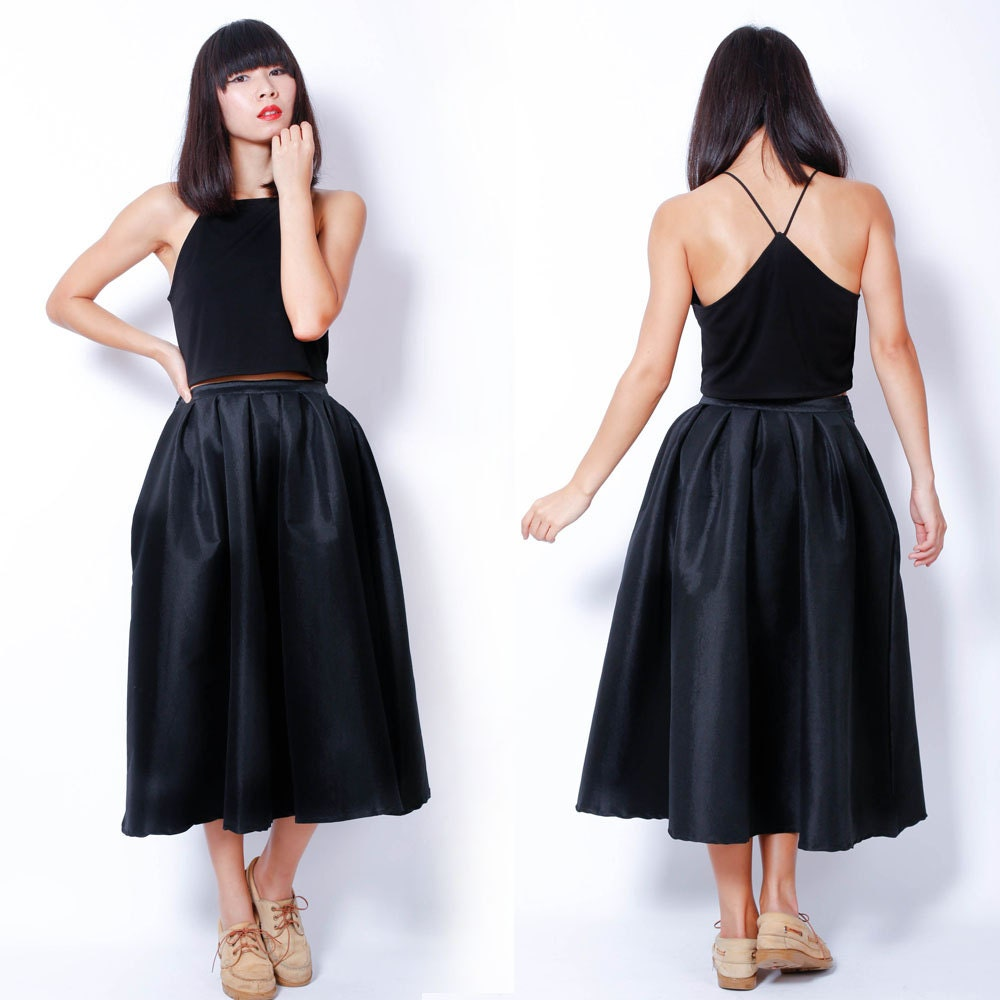 Retro Maxi Skirt Retro Black High Wait Pleat Full Evening