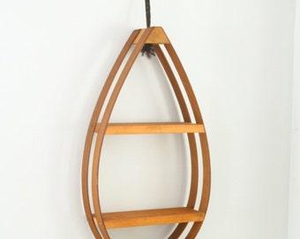 Vintage Bentwood Teardrop Planter Hanging Shelf Two Tier