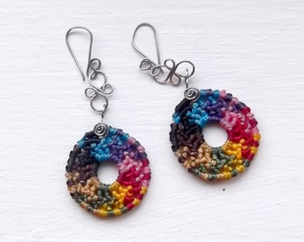 Rainbow macrame earrings