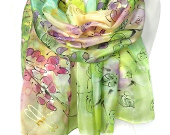 Hand Painted Silk Scarf. Green Wedding Scarf. Woman Silk Shawl. Birthday Anniversary Gift. Genuine Silk Art. 18x71in MADE to ORDER