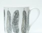 Feathers Bone China Mug - Kitchen, gift, feather illustration,