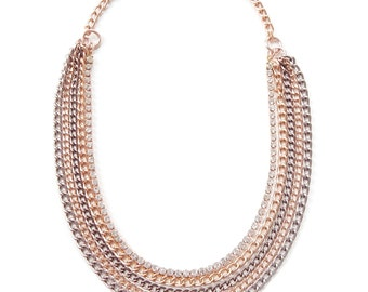 Rose Gold Statement Necklace crystal statement jewelry rhinestone chain REAL LOVE