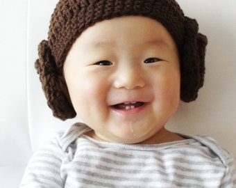 Princess Leia Hat, Star Wars Hat, Crochet Baby Hat, Baby Hat,  Hair buns, photo prop
