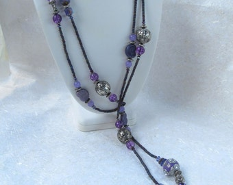 Extra Long Purple and Silver Beaded Lariat