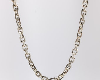 "Retro Unique 925 Sterling Silver 7mm Wide Fancy Beveled Oval Link Chain 22.5"" Long - 60.8 grams FREE SHIPPING!"
