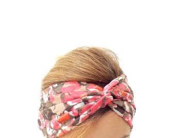 Knotted Head Wrap, Twisted Center Hair Wrap, Floral Turban , Twist headband ,Women's Accessories , pink , brown , floral
