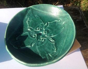 Fish Pottery Soap Dish Teal Green Bathroom Ceramics made in UK
