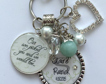 Future DAUGHTER in LAW GIFT, personalized bride to be Our son picked you and we would too wedding date white rememberance wedding shower fun