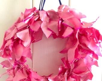 Hot pink dupion silk wreath