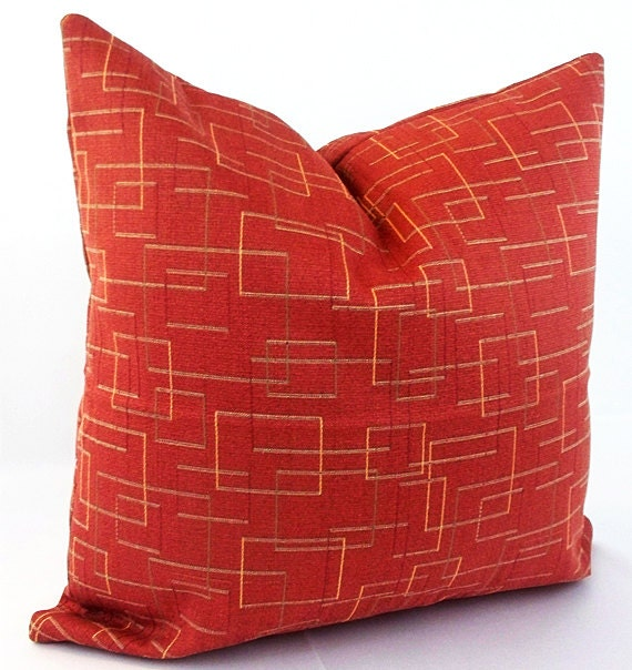Red orange pillow Coral throw pillows Burnt orange pillow