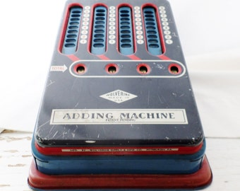 Vintage, Tin, Wolverine, Adding Machine, Toy, Calculator, Red White and Blue, Working