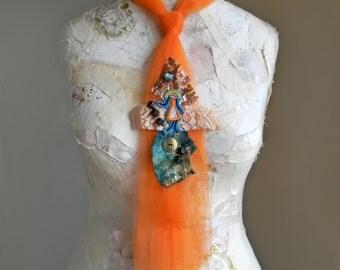 Orange Womens Necktie, Orange and Blue Tie, Textile Necktie, Fabric Collage, Womens Ties, Tie Necklace, Teal and Orange Necktie Necklace