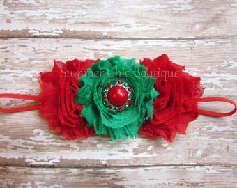 Christmas Headband, Baby Headband, Infant Headband, Toddler headband, Red and Green Headband