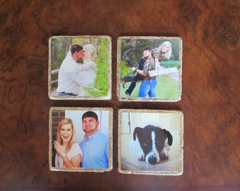 Custom Photo Stone Coaster Set