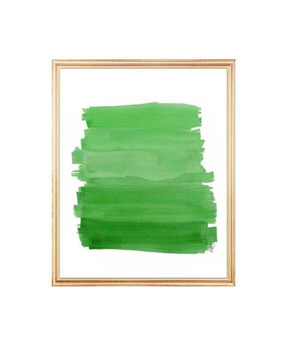 Emerald Green Decor, 8x10 Watercolor Ombre Art, Brushstrokes, Emerald Green Art, Emerald Green Ombre, Grass Green, Green and Gold Decor