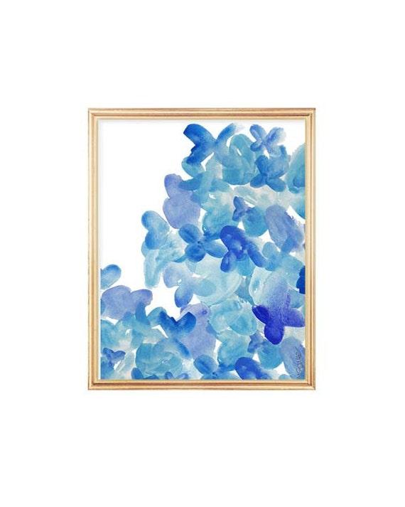 Watercolor Flowers, Indigo Blue Print, Watercolor Painting  8x10, Royal Blue Art, Blue Flower Painting, Cobalt Blue Art, Blue Wall Decor