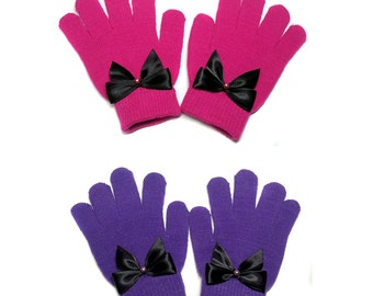 Knit Gloves with Satin Bows, Gloves with Bows, Bow Gloves, Girls Gloves.