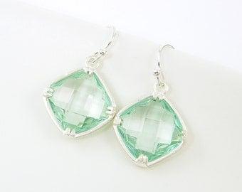 Mint Green Drop Earrings, Silver and Green Earrings, Pale Green Earrings |MG1-7