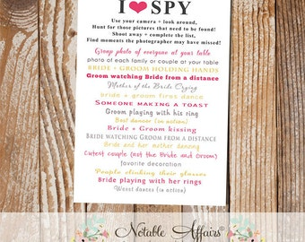 I Spy cards for wedding receptions - I Spy Wedding Fun - I Spy cards