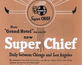 1951 Santa Fe Railroad Print Ad Super Chief Grand Hotel on Rails Train