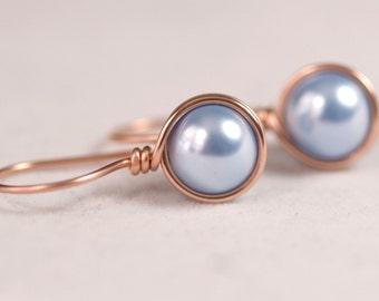 Rose Gold Light Blue Pearl Earrings Wire Wrapped Jewelry Handmade Light Blue Earrings Rose Gold Earrings Rose Gold Jewelry Pearl Drop Earrin