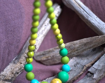 Hand Painted Wooden Bead Necklace Yellow Green Blue / Geometric Wooden Bead Necklace / Dyed wood bead necklace / Ombre Yellow Green