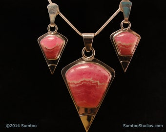 Rhodochrosite Pendant & Earring Set in Argentium Sterling Silver