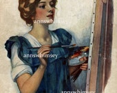 "Artist,  Art Print, Wall Art RESTORED Antique Vintage Art ""Artist at Work""  #191"