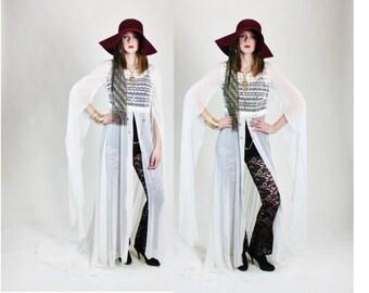 1970s Sheer White Crochet Gypsy Bridal Wedding Maxi Dress