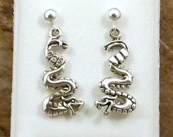 Sterling Silver Dragon Charms on Sterling Silver 4mm Ball Post Stud Earrings -0791