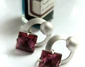 Sterling Silver Earrings - Amethyst Purple / Vintage