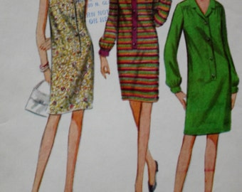 1960s Mod Dress / Placket Front /Shift Dress /McCalls 8869 /Vintage Sewing Pattern