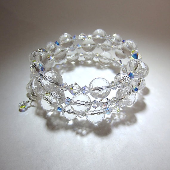 items similar to clear faceted quartz memory wire bracelet