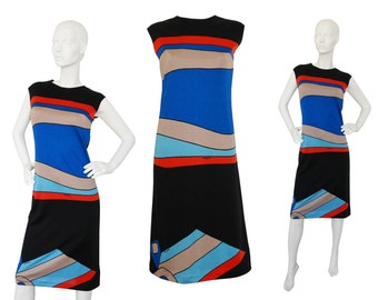 Louis Féraud 1960s 1970s Vintage Sleeveless Graphic Printed Dress Evening Dress Gown Mod Space Age Designer Fashion Size 4 XS