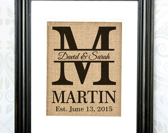 Personalized Burlap Print - Monogram Burlap Print - Wall Art