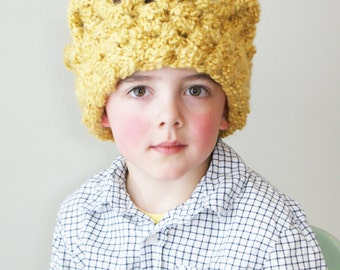 DIY Crochet PATTERN - Chunky Crochet Crown Earwarmer in Toddler, Child and Adult Sizes (hat030)