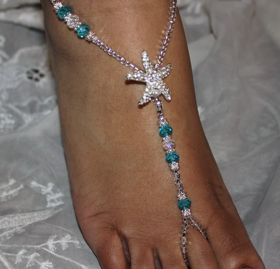 Blue Crystal Barefoot Sandals Beach Barefoot Sandals Foot Jewelry Starfish Wedding