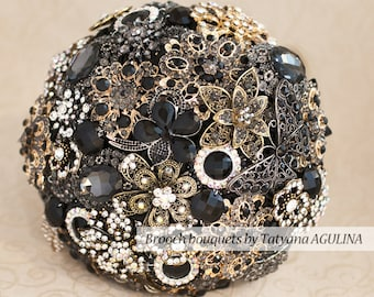 Brooch bouquet, Wedding bouquet, Bridal Bouquet, Gold Black Bouquet, Jewelry Bouquet, Black Bouquet, Black Wedding, Silver Black Bouquet
