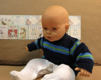 Knitted Baby Clothes, Toddler Knitted Jumper, Blue Childrens Sweater, Girl or Boy Infant Jacket, Handmade in Australia