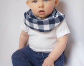 "Modern Bib (Navy Checks) All in One Scarf & Bib ""Scabib""tm for babies or toddlers"