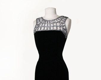 80's Cocktail Mini Dress Silver Cord & Velvet