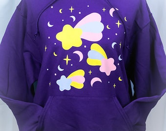 Starfall Shooting Stars and Crescent Moons Graphic Hoodie Hooded Sweatshirt Fairy Kei Pastel Goth