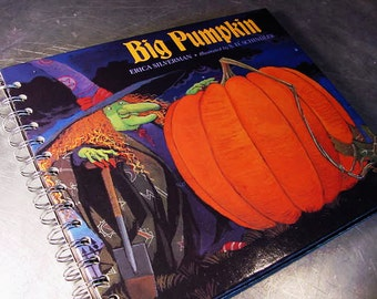 HALLOWEEN Book Journal  BIG PUMPKIN Scrapbook Recycled Upcycled Altered