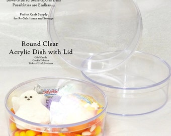 B0X Round Clear Plastic Acrylic  DIY Supply Container Event & Party table centerpieces, Guest Favors, Premade Retail Gifts, FE, Candy,Craft