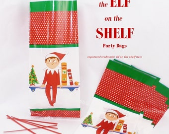 16 the ELF on the SHELF  candy/ Cookie BAGS with  Red Twist ties - School Gifts, Favors, Elf daily Surprise Bakery -Cookie -Cake & Candy Bag