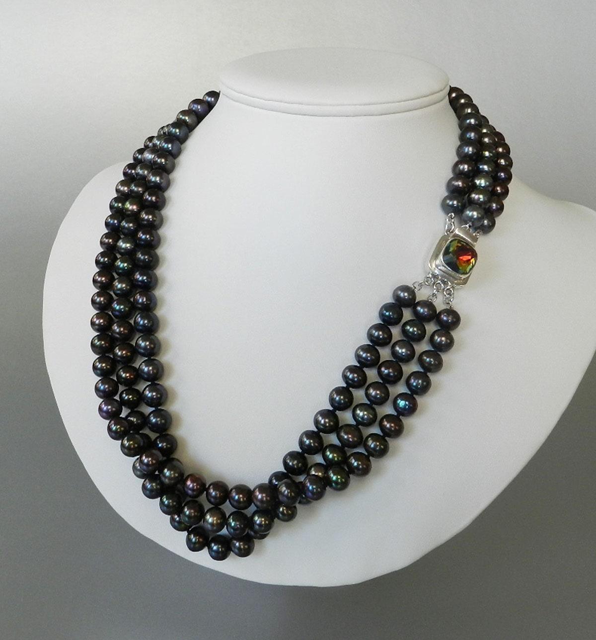 black pearl necklace multi strand statement by. Black Bedroom Furniture Sets. Home Design Ideas