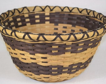 SALE - Table Basket Hand Woven in Walnut and Natural Reeds